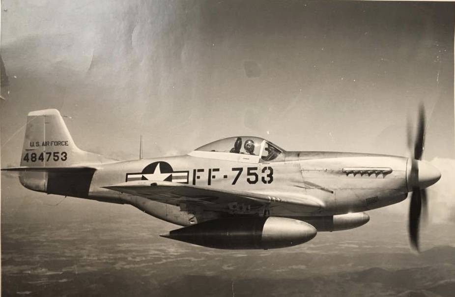 A photo of 1st Lt. Frank Salazar flying his aircraft. Salazar disappeared in North Korea in December 1952 after his plane was shot down. Photo courtesy of Diana Sanfilippo.
