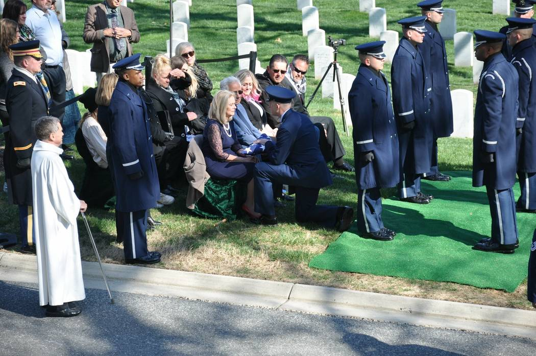 A memorial for 1st Lt. Frank Salazar was held at Arlington National Cemetery on April 18, 66 years after he disappeared. Photo courtesy of Diana Sanfilippo.