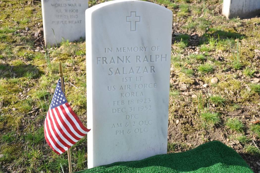 A photo of 1st Lt. Frank Salazar's tombstone at Arlington National Cemetery. Photo courtesy of Diana Sanfilippo.