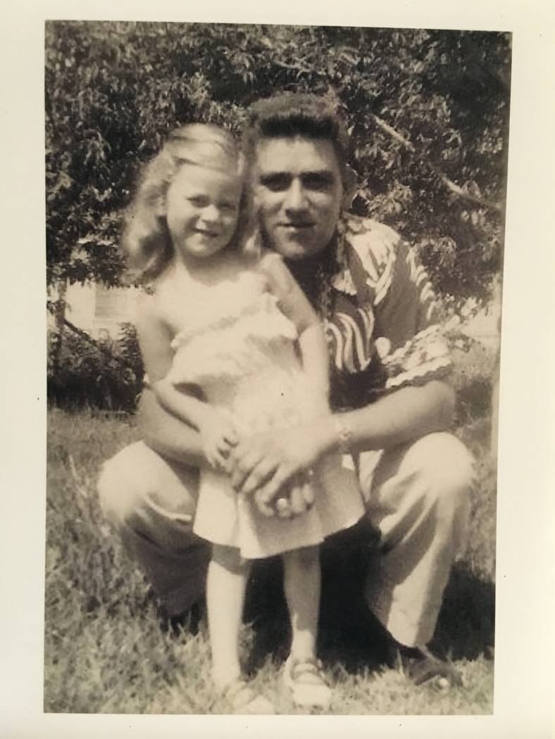 A photo of a 4-year-old Diana Sanfilippo with her father, 1st Lt. Frank Salazar, just prior to his deployment in April 1952. Photo courtesy of Diana Sanfilippo.