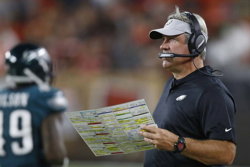 Philadelphia Eagles coach Doug Pederson watches during the second half of the team's NFL preseason football game against the Cleveland Browns, Thursday, Aug. 23, 2018, in Cleveland. (Ron Schwane/AP)