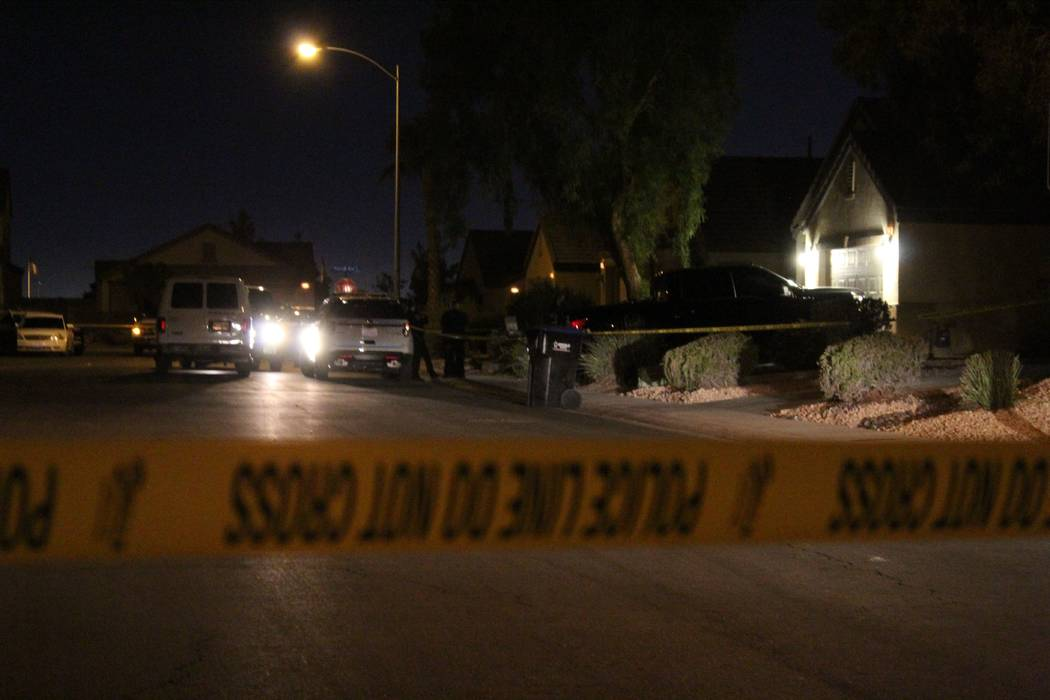 A woman suffered serious injuries and a man was found dead early Thursday, Sept. 20, 2018, after a domestic shooting led to a barricade inside a North Las Vegas home. (Max Michor/Las Vegas Review- ...