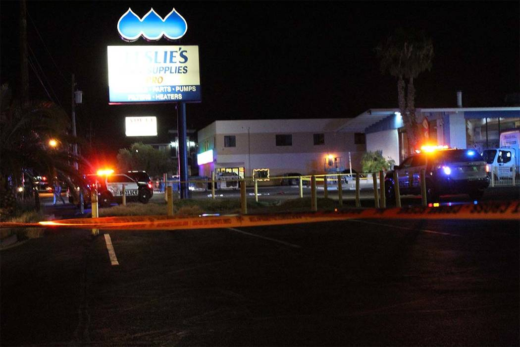 Las Vegas police are investigating the shooting of a man, who was found Thursday, Sept. 20, 2018, in the parking lot of a strip mall on the 6700 block of Boulder Highway. (Max Michor/Las Vegas Rev ...