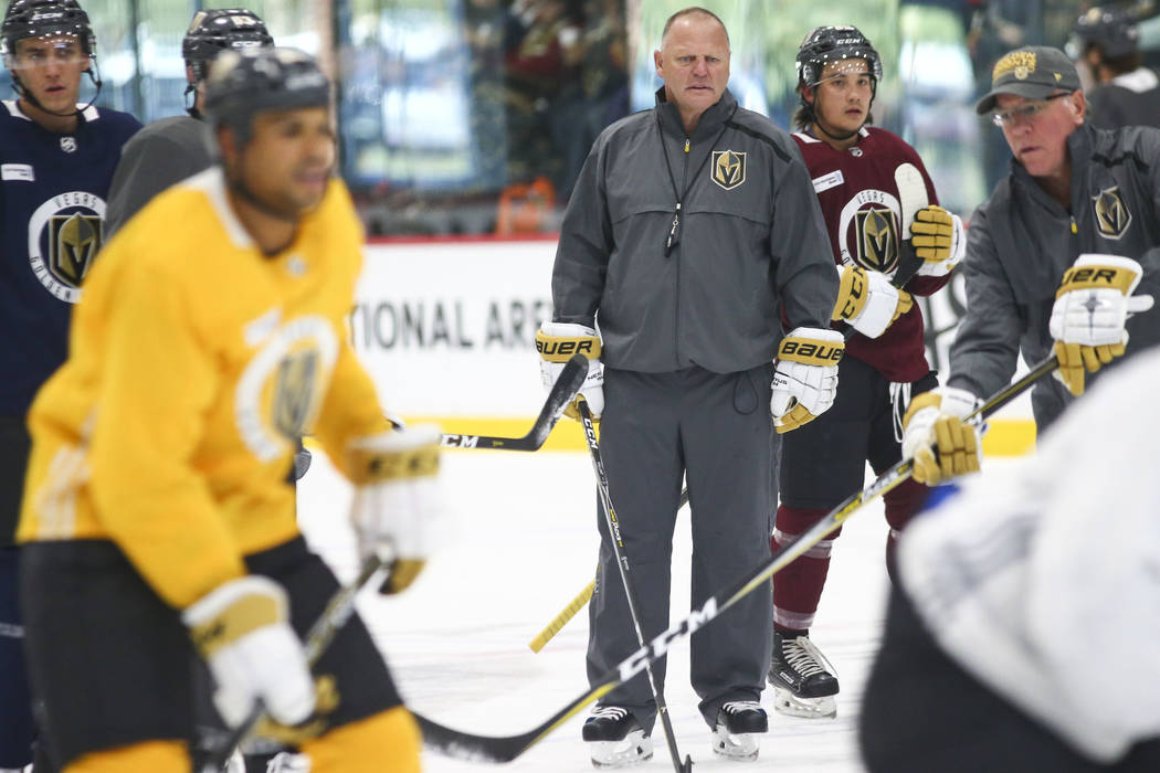 Golden Knights head coach Gerard Gallant looks on during practice at City National Arena in Las Vegas on Wednesday, Sept. 19, 2018. Chase Stevens Las Vegas Review-Journal @csstevensphoto