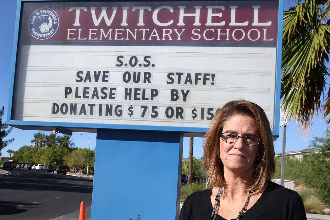 "Michele Wooldridge, principal of Twitchell Elementary School in Henderson, sent out an ""SOS"" to parents asking for donations to stave off budget cuts and ""save our staff."" (Bizuayehu Tesfa ..."