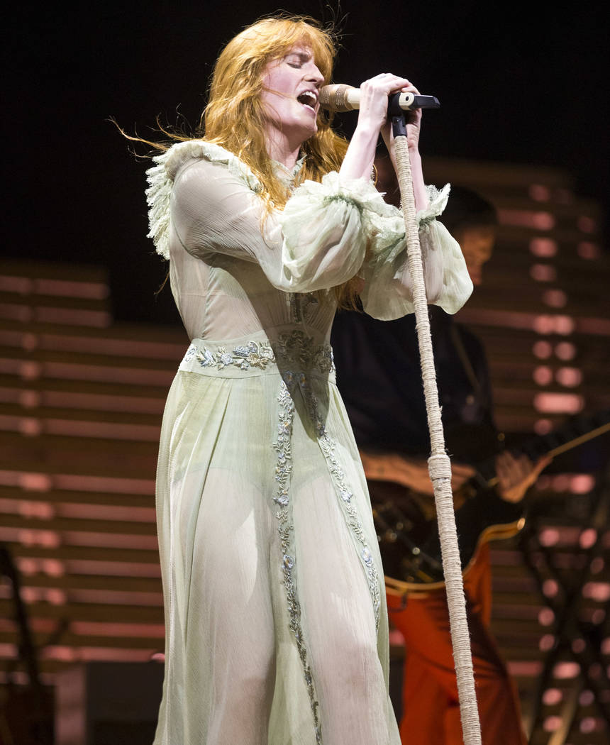 Florence Welch of the English rock band Florence and the Machine performs on day two of the annual Life is Beautiful festival in downtown Las Vegas on Saturday, Sept. 22, 2018. Richard Brian Las V ...