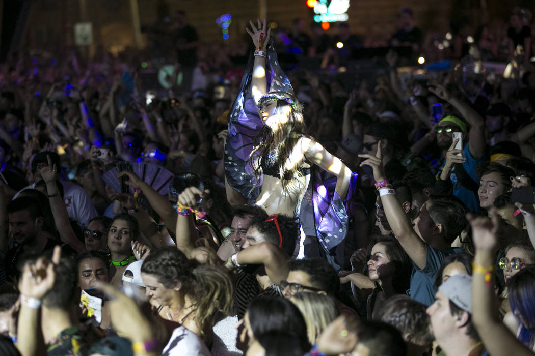 Festival-goers dance to the sounds of Swedish DJ duo Galantis on day two of the annual Life is Beautiful festival in downtown Las Vegas on Sunday, Sept. 23, 2018. Richard Brian Las Vegas Review-Jo ...