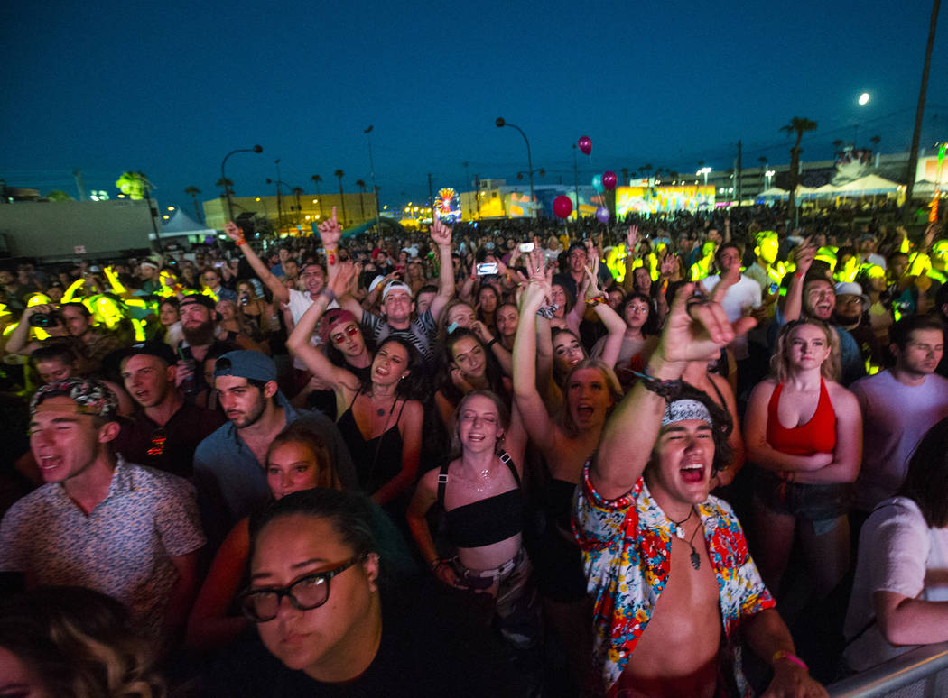 Fans cheer as Mt. Joy plays during the third day of the annual Life is Beautiful festival in downtown Las Vegas on Sunday, Sept. 23, 2018. Chase Stevens Las Vegas Review-Journal @csstevensphoto