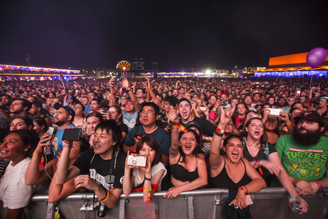 Fans react before Arcade Fire performs during the third day of the annual Life is Beautiful festival in downtown Las Vegas on Sunday, Sept. 23, 2018. Chase Stevens Las Vegas Review-Journal @csstev ...