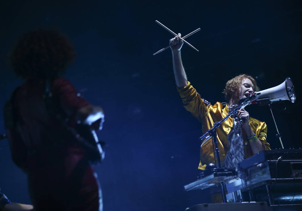 Richard Reed Parry, right, of Arcade Fire performs during the third day of the annual Life is Beautiful festival in downtown Las Vegas on Sunday, Sept. 23, 2018. Chase Stevens Las Vegas Review-Jou ...