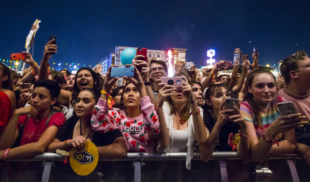 Attendees wait for Tyler, the Creator to take the stage during the third day of the annual Life is Beautiful festival in downtown Las Vegas on Sunday, Sept. 23, 2018. Chase Stevens Las Vegas Revie ...