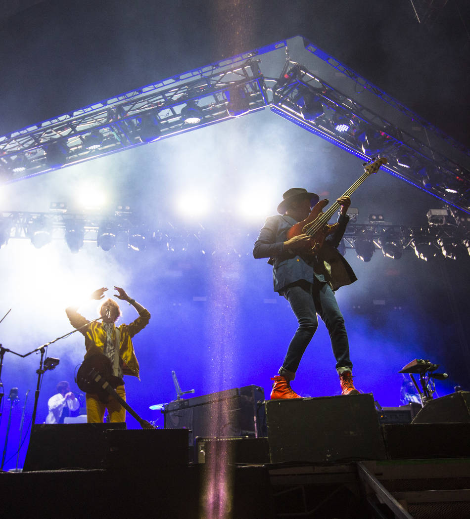 Richard Reed Parry, left, and Win Butler of Arcade Fire perform during the third day of the annual Life is Beautiful festival in downtown Las Vegas on Sunday, Sept. 23, 2018. Chase Stevens Las Veg ...