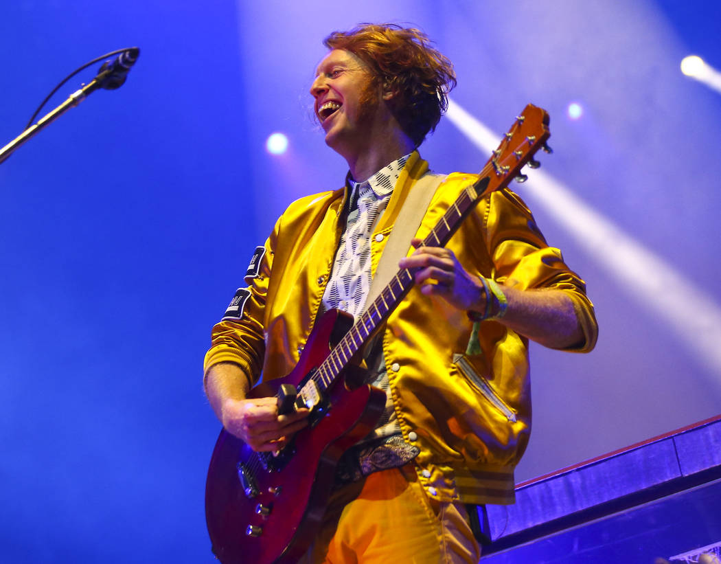 Richard Reed Parry of Arcade Fire performs during the third day of the annual Life is Beautiful festival in downtown Las Vegas on Sunday, Sept. 23, 2018. Chase Stevens Las Vegas Review-Journal @cs ...