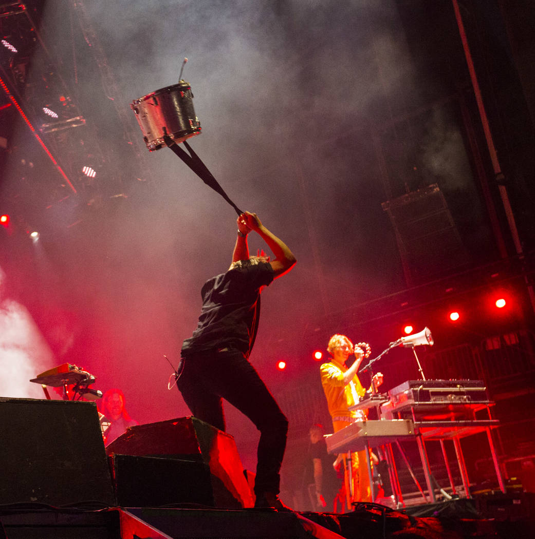 William Butler of Arcade Fire smashes a drum while performing during the third day of the annual Life is Beautiful festival in downtown Las Vegas on Sunday, Sept. 23, 2018. Chase Stevens Las Vegas ...