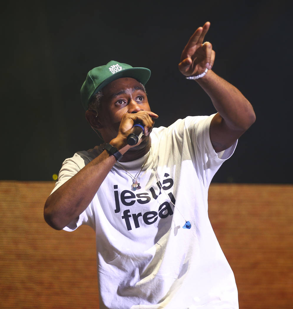 Tyler, the Creator performs during the third day of the annual Life is Beautiful festival in downtown Las Vegas on Sunday, Sept. 23, 2018. Chase Stevens Las Vegas Review-Journal @csstevensphoto