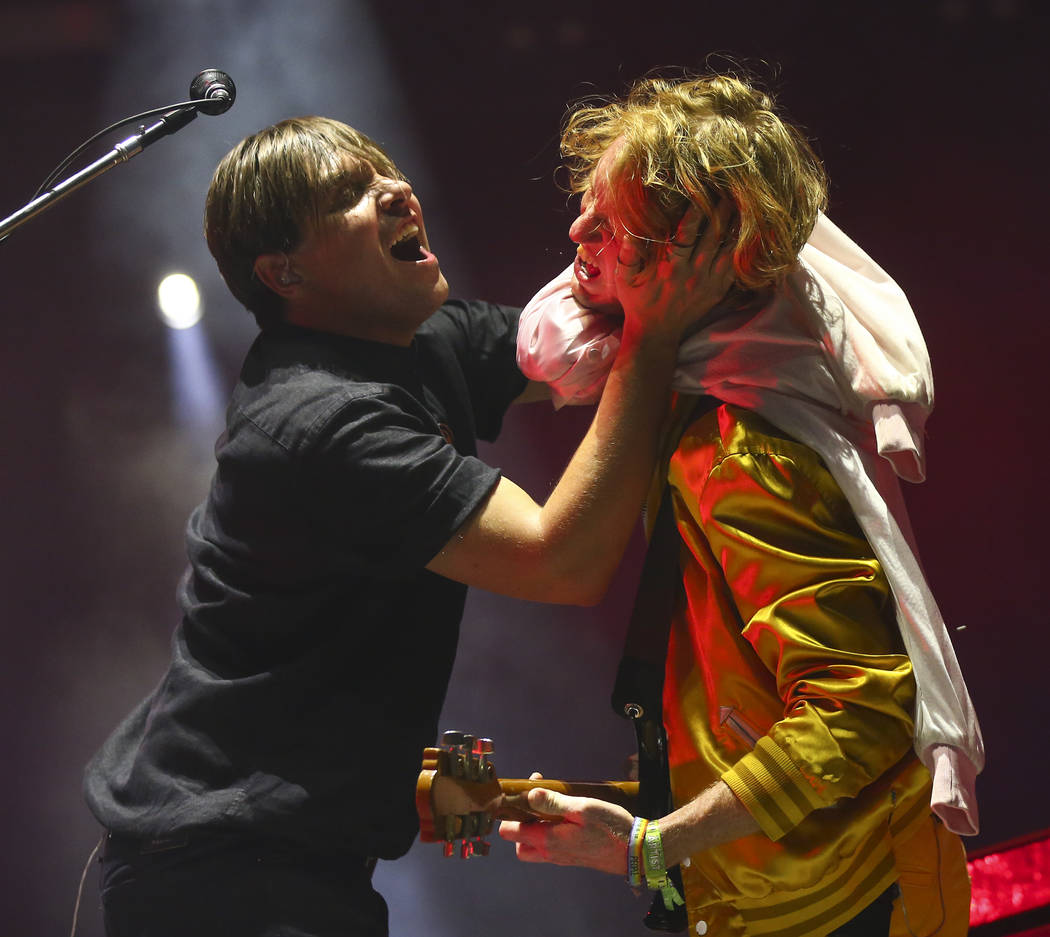 William Butler, left, and Richard Reed Parry of Arcade Fire perform during the third day of the annual Life is Beautiful festival in downtown Las Vegas on Sunday, Sept. 23, 2018. Chase Stevens Las ...