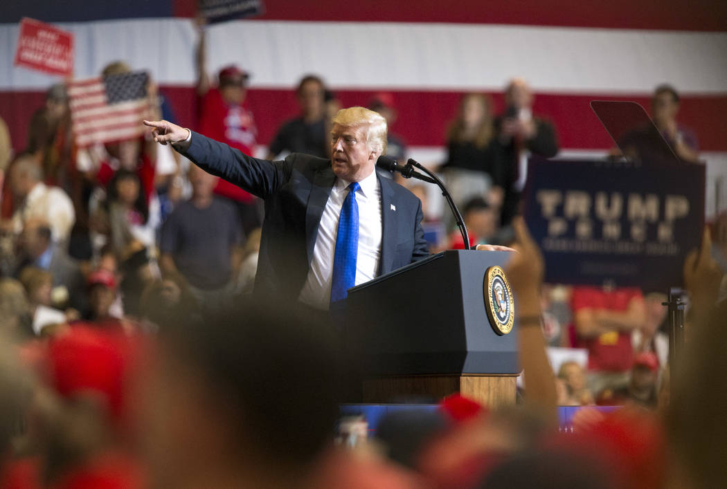U.S. President Donald Trump speaks during a Make America Great Again rally at the Las Vegas Convention Center in Las Vegas on Thursday, Sept. 20, 2018. Richard Brian Las Vegas Review-Journal @vega ...
