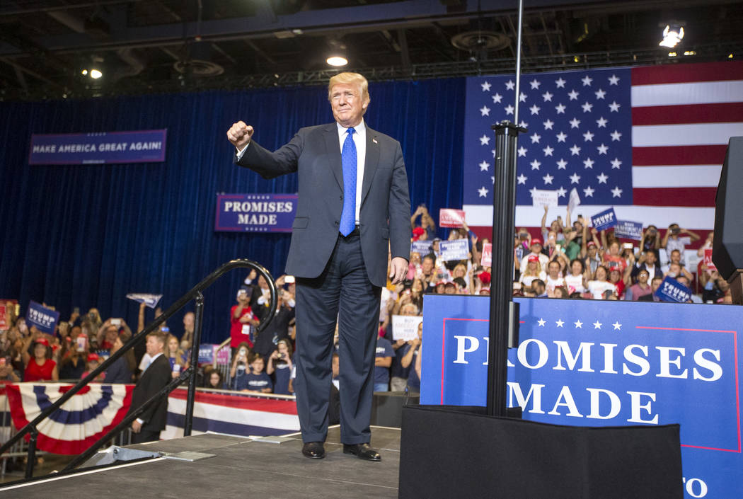 U.S. President Donald Trump arrives for a Make America Great Again rally at the Las Vegas Convention Center in Las Vegas on Thursday, Sept. 20, 2018. Richard Brian Las Vegas Review-Journal @vegasp ...