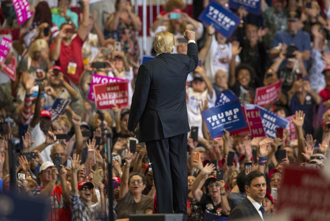 U.S. President Donald Trump waives to supporters after a Make America Great Again rally at the Las Vegas Convention Center in Las Vegas on Thursday, Sept. 20, 2018. Richard Brian Las Vegas Review- ...