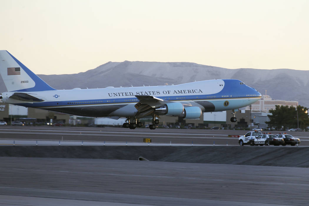 Air Force One with U.S. President Donald Trump lands at McCarran International Airport on Thursday, Sept. 20, 2018. (Richard Brian/Las Vegas Review-Journal)