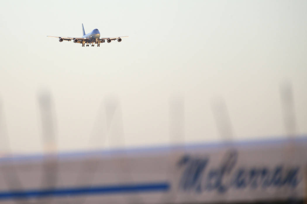 Air Force One with U.S. President Donald Trump approaches McCarran International Airport on Thursday, Sept. 20, 2018. (Richard Brian/Las Vegas Review-Journal)