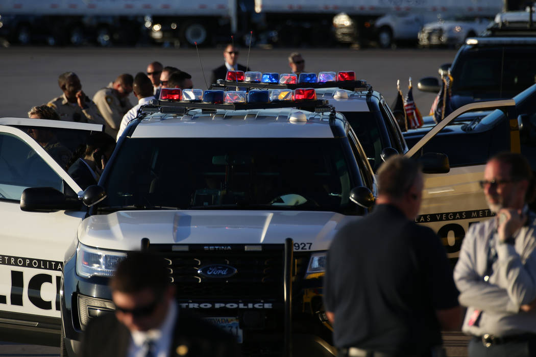 Las Vegas police before Air Force One with U.S. President Donald Trump lands at McCarran International Airport before on Thursday, Sept. 20, 2018. (Richard Brian/Las Vegas Review-Journal)