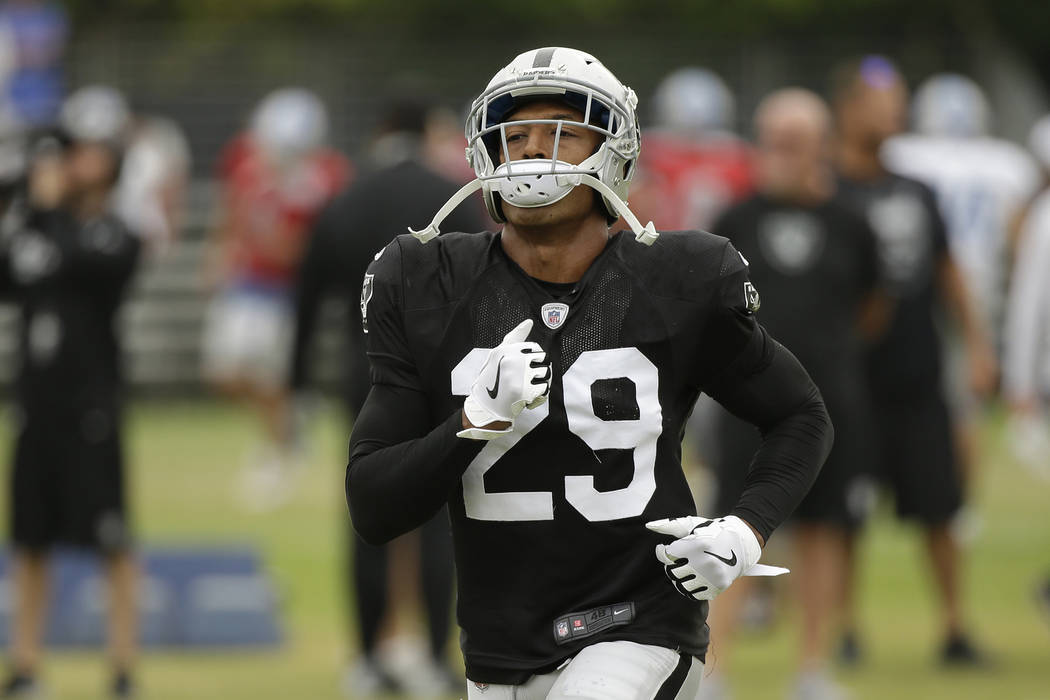 Oakland Raiders defensive back Leon Hall during NFL football practice Wednesday, Aug. 8, 2018, in Napa, Calif. Both the Oakland Raiders and the Detroit Lions held a joint practice before their upc ...