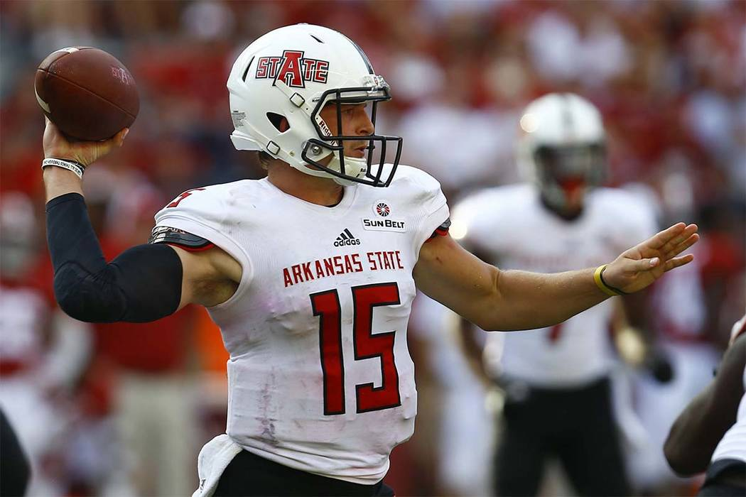 Arkansas State quarterback Justice Hansen (15) throws a pass against Alabama during the second half of an NCAA college football game, Saturday, Sept. 8, 2018, in Tuscaloosa, Ala. (Butch Dill/AP)