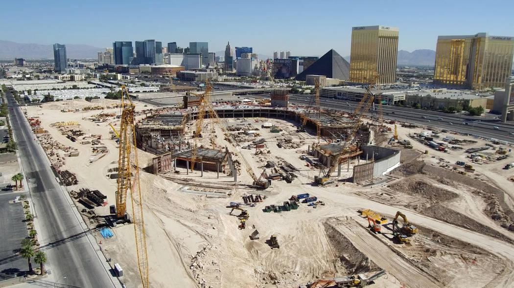 Aerial photo of Raiders stadium construction on Sept. 9, 2018 in Las Vegas. (Raiders)
