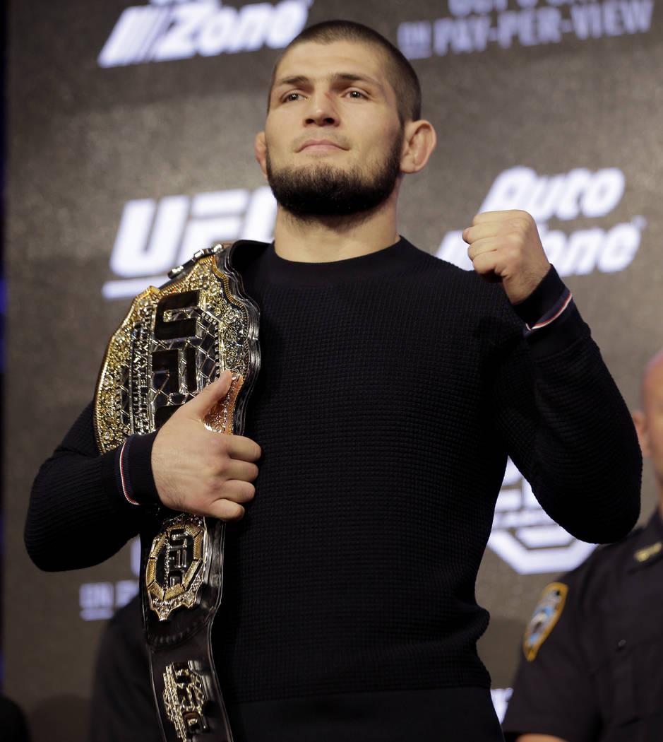 Khabib Nurmagomedov poses for a picture during a news conference in New York, Thursday, Sept. 20, 2018. Conor McGregor is returning to UFC after a two-year absence. He fights undefeated Nurmagomed ...