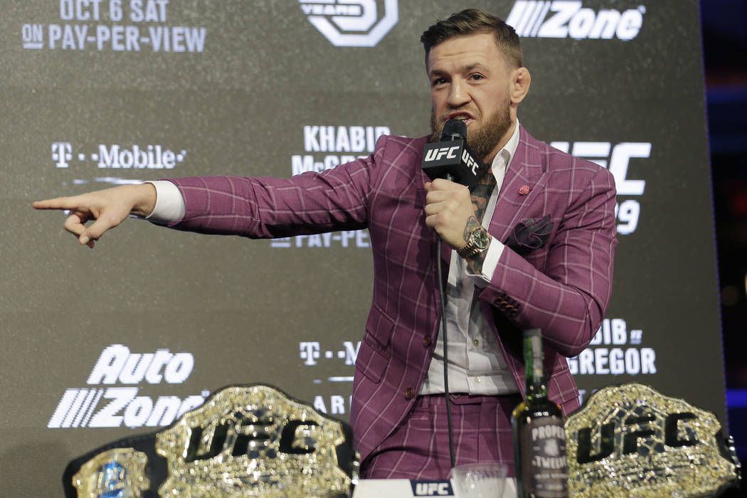 Conor McGregor participates in a news conference in New York, Thursday, Sept. 20, 2018. McGregor is returning to UFC after a two-year absence. He fights undefeated Khabib Nurmagomedov on Oct. 6. ( ...