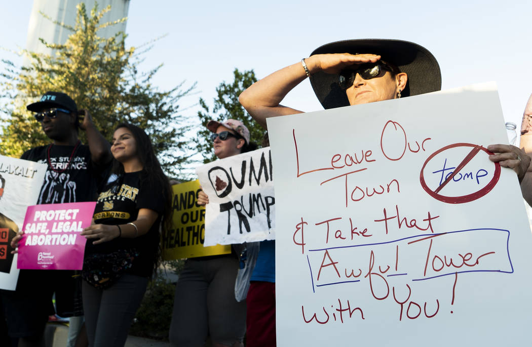 Las Vegas residents protest Trump's rally in front of the Las Vegas Convention Center in Las Vegas, Thursday, Sept. 20, 2018. (Marcus Villagran/Las Vegas Review-Journal) @marcusvillagran