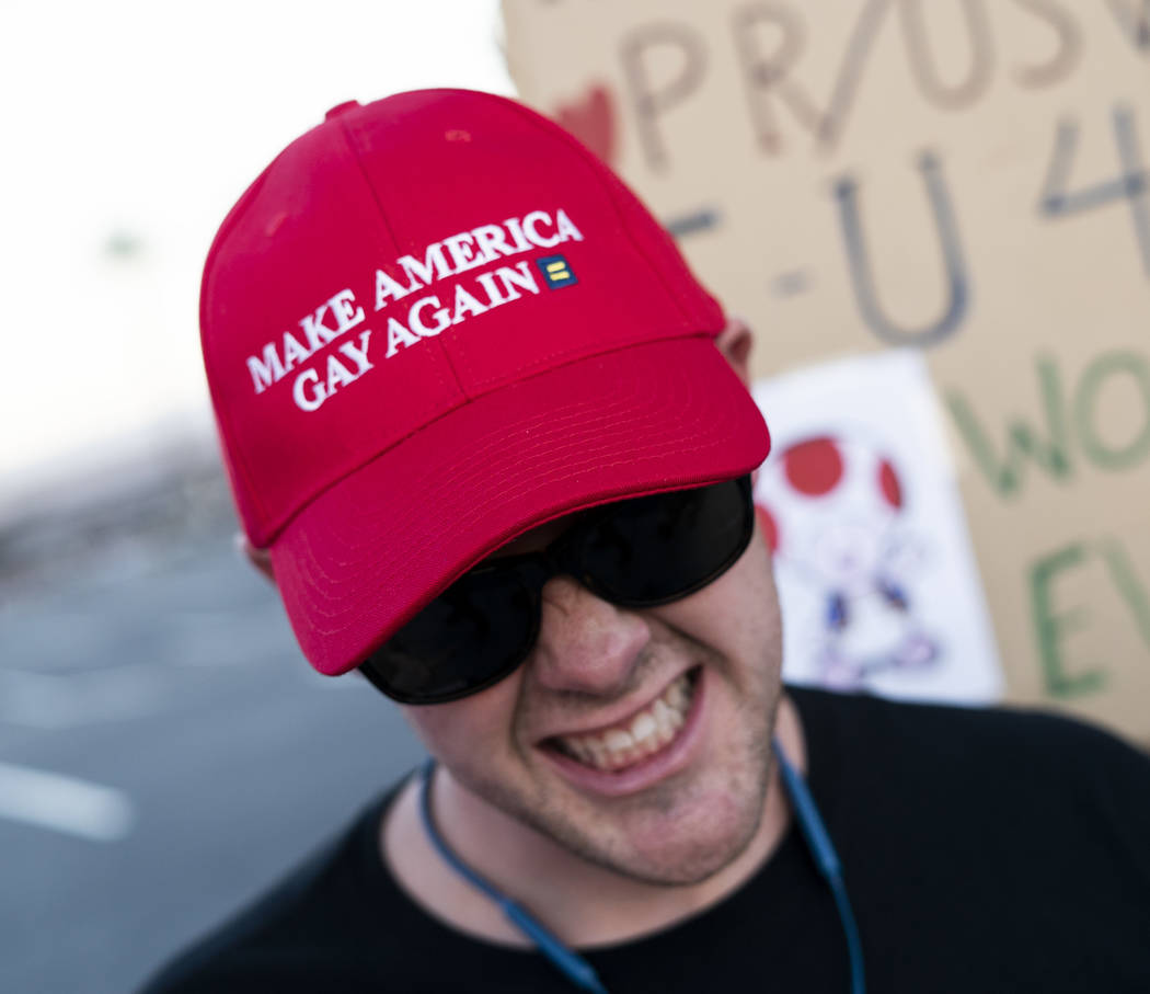 Jarrett Clark protests Trump's rally in front of the Las Vegas Convention Center in Las Vegas, Thursday, Sept. 20, 2018. (Marcus Villagran/Las Vegas Review-Journal) @marcusvillagran