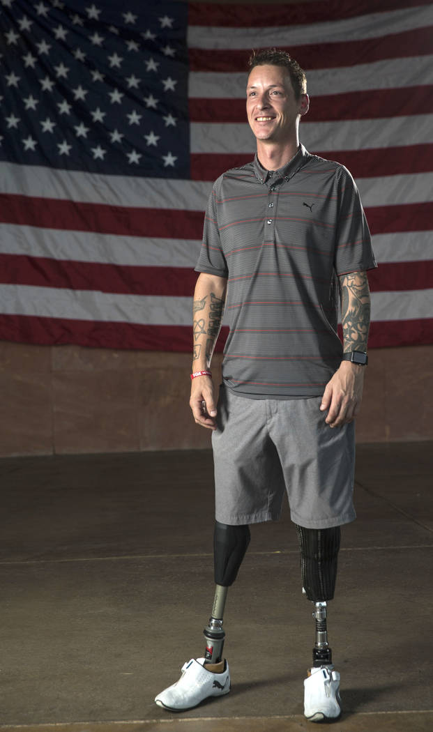 Double amputee Army Sgt. Adam Poppenhouse, who was injured in Iraq, at the Henderson Events Plaza amphitheater in Henderson on Wednesday, Sept. 19, 2018. Poppenhouse will be honored Saturday by O ...