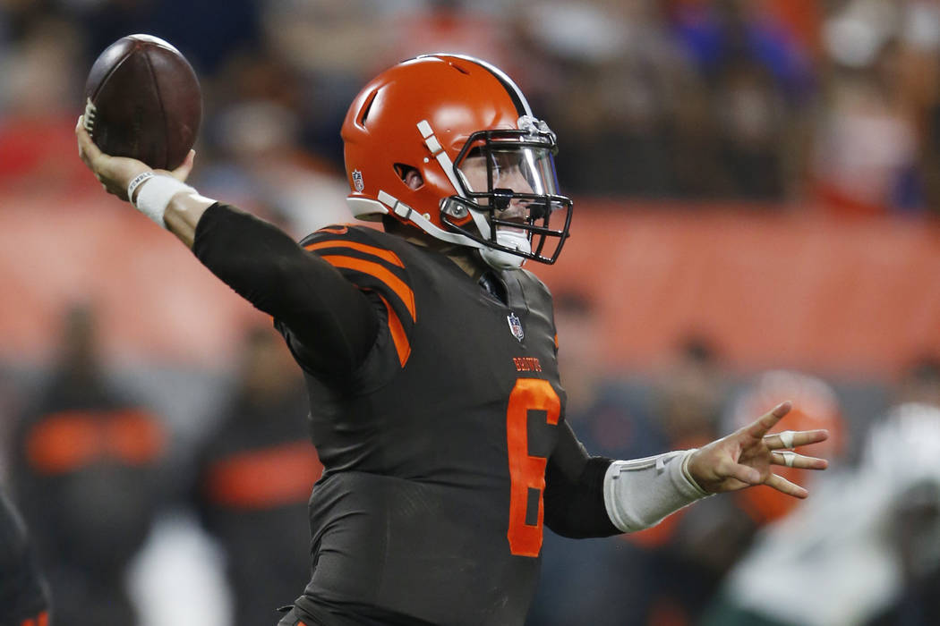 Cleveland Browns quarterback Baker Mayfield (6) throws during the second half of an NFL football game against the New York Jets, Thursday, Sept. 20, 2018, in Cleveland. (AP Photo/Ron Schwane)
