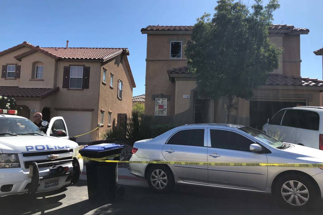 Henderson police found four people dead inside a burning house after reports of a shooting during a family disturbance in the 1100 block of Paradise Garden Drive, Thursday night, Sept. 20, 2018. ( ...