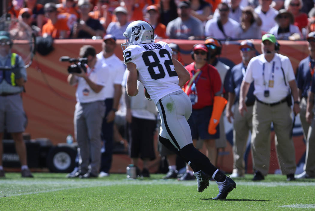 Oakland Raiders wide receiver Jordy Nelson (82) returns a punt during the first half of their NFL game against the Denver Broncos in Denver, Colo., Sunday, Sept. 16, 2018. Heidi Fang Las Vegas Rev ...