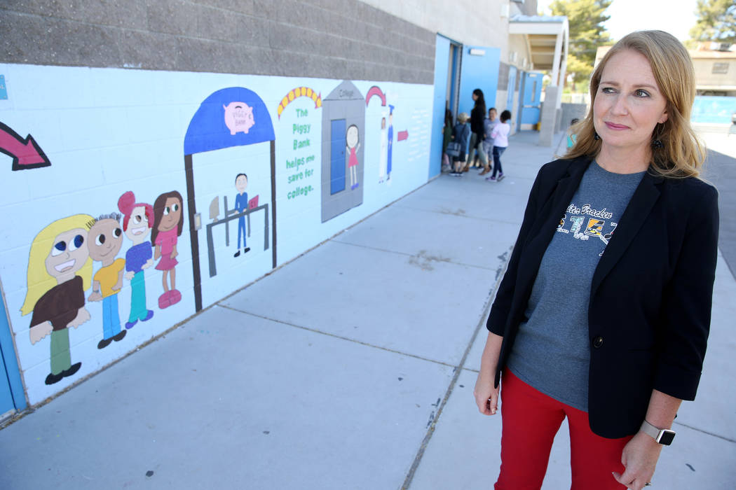 Walter Bracken STEAM Academy Assistant Principal Michelle Wheatfill shows a mural at the school in Las Vegas Tuesday, Sept. 25, 2018. The mural was created at last year's United Way of Southern Ne ...