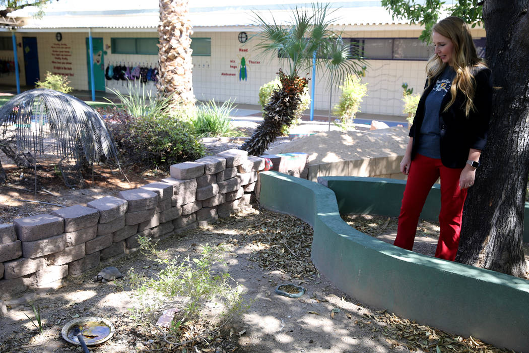 Walter Bracken STEAM Academy Assistant Principal Michelle Wheatfill shows a tortoise habitat at the Las Vegas school Tuesday, Sept. 25, 2018. The habitat will be cleaned and rehabilitated during t ...