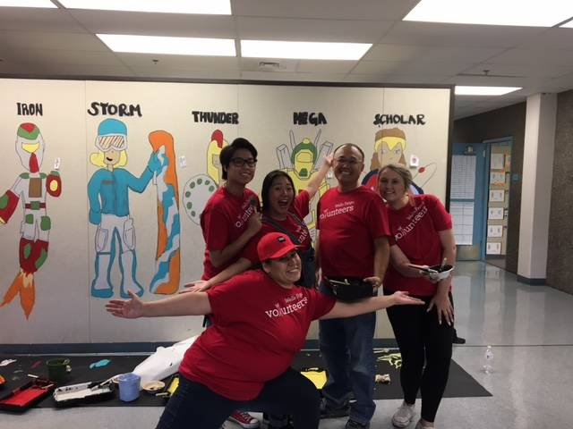 Wells Fargo team members participate in the 2017 United Way Day of Caring at Cyril Wengert school. Courtesy Megan Farnsworth
