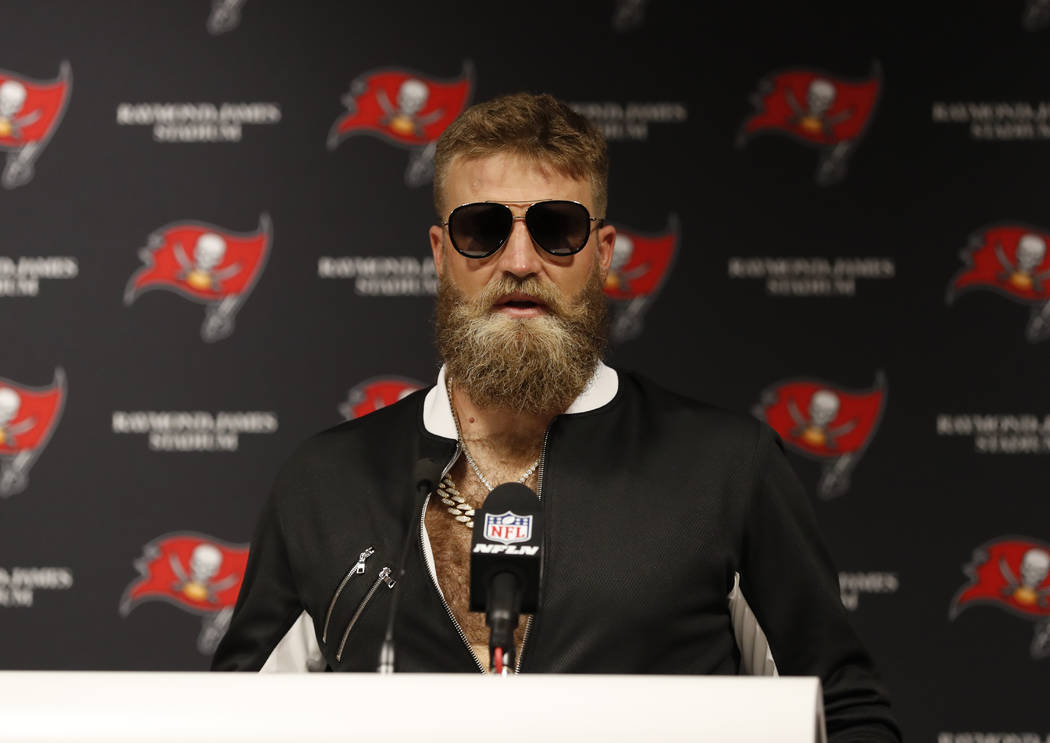 Tampa Bay Buccaneers quarterback Ryan Fitzpatrick talks during a post game news conference following an NFL football game against the Philadelphia Eagles, Sunday, Sept. 16, 2018, in Tampa, Fla. Th ...