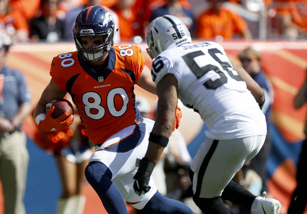 Oakland Raiders linebacker Derrick Johnson (56) hits Denver Broncos tight end Jake Butt (80) during the first half of an NFL football game, Sunday, Sept. 16, 2018, in Denver. (AP Photo/Jack Dempsey)