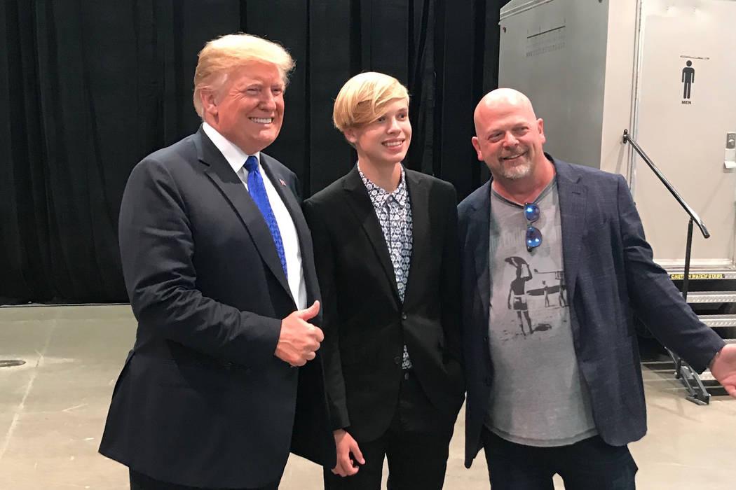 President Donald Trump, Jake Harrison and Rick Harrison at the Las Vegas Convention Center on Thursday. (Dean Heller)