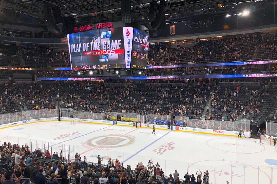 The AGS Play of the Game, showing the most significant play of every Vegas Golden Knights game, will be shown on T-Mobile Arena's massive center ice video screen as part of its new marketing agree ...