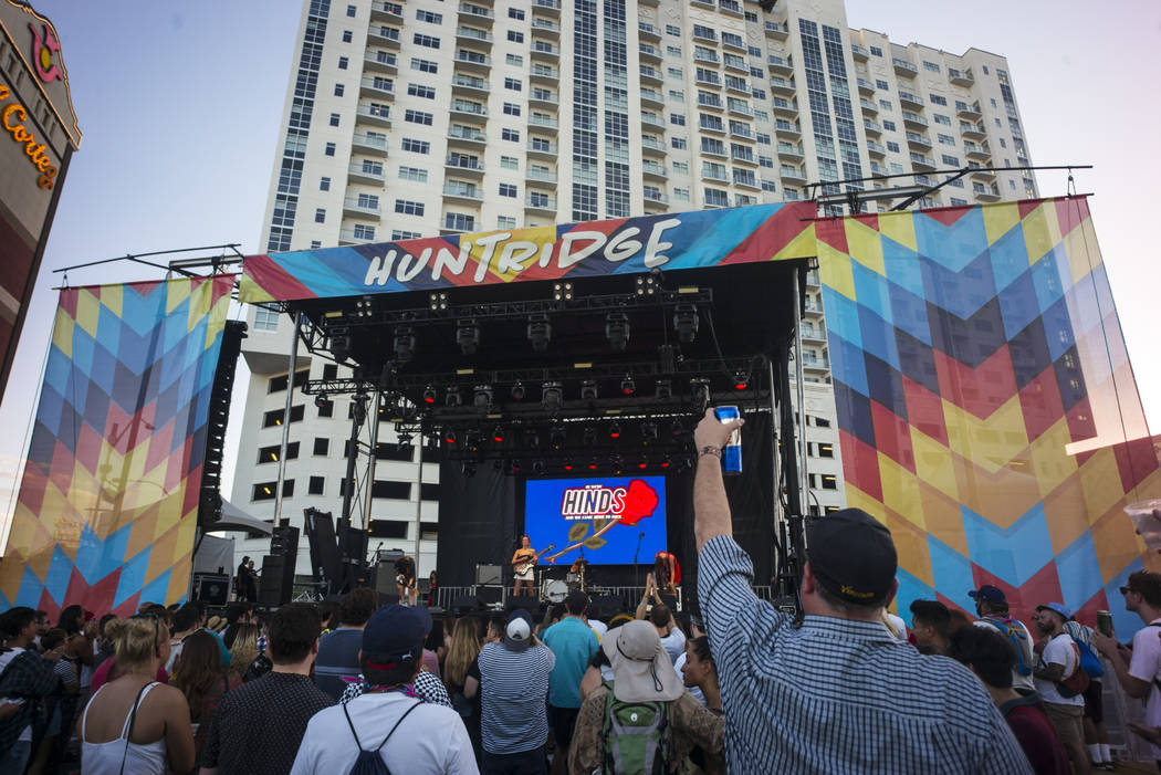 Hinds performs at the Huntridge stage during the first day of the annual Life is Beautiful festival in downtown Las Vegas on Friday, Sept. 21, 2018. Chase Stevens Las Vegas Review-Journal @cssteve ...