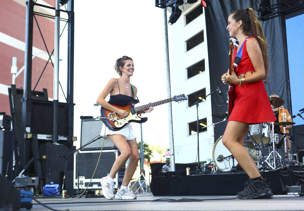 Carlotta Cosials, left, and Ana Garcia Perrote of Hinds perform at the Huntridge stage during the first day of the annual Life is Beautiful festival in downtown Las Vegas on Friday, Sept. 21, 2018 ...
