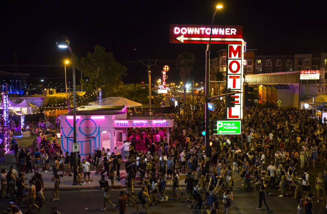 Attendees roam the festival grounds during the first day of the annual Life is Beautiful festival in downtown Las Vegas on Friday, Sept. 21, 2018. Chase Stevens Las Vegas Review-Journal @csstevens ...
