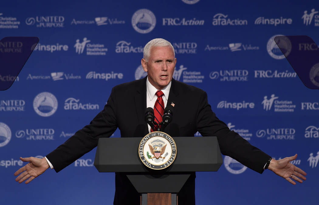 Vice President Mike Pence speaks at the 2018 Values Voter Summit in Washington, Saturday, Sept. 22, 2018. (Susan Walsh/AP)