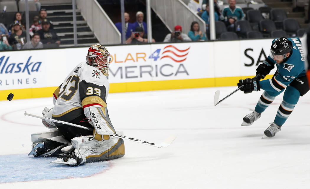 San Jose Sharks right wing Barclay Goodrow (23) scores a goal on a penalty shot past Vegas Golden Knights goaltender Maxime Lagace during the second period of a preseason NHL hockey game in San Jo ...