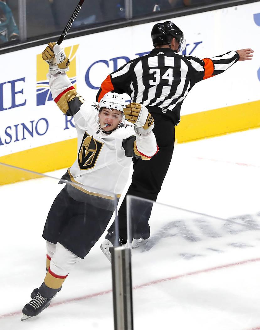 Vegas Golden Knights defenseman Erik Brannstrom celebrates after scoring the winning goal against San Jose Sharks during the shootout in a preseason NHL hockey game in San Jose, Calif., Saturday, ...